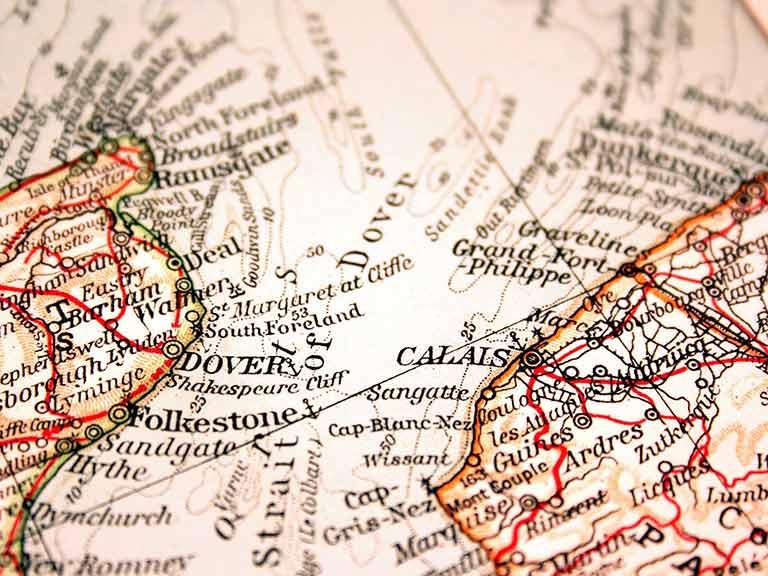 Map of Dover to Calais
